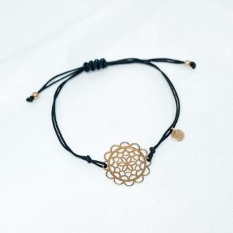 Bransoletka sznurkowa LARA srebrna pozłacana z kwiatkiem