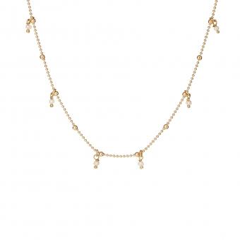 Choker ARIEL srebrny pozłacany z naturalnymi perłami