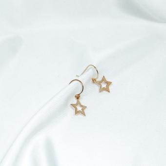 Kolczyki SKY srebrne pozłacane z gwiazdkami