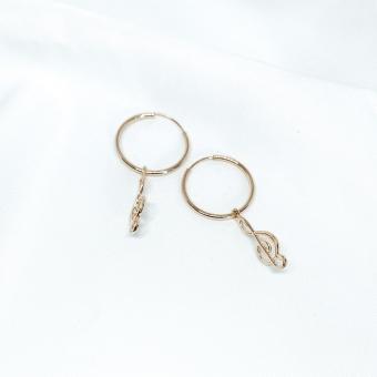 Kolczyki BELIEVE srebrne pozłacane z kluczem wiolinowym