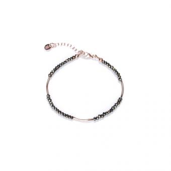 Bransoletka LARA srebrna pozłacana na różowo z naturalnym pirytem