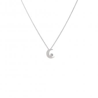 Naszyjnik DIAMONDS białe złoto 585 z brylantem i księżycem