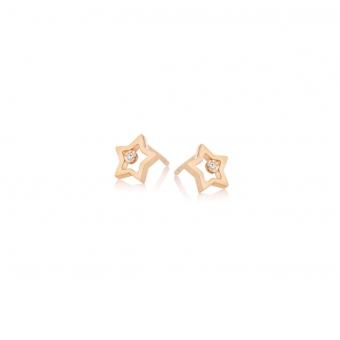 Kolczyki DIAMONDS złote 585 z brylantami i gwiazdkami