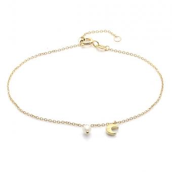 Bransoletka DOLCE VITA złota z perłą i księżycem