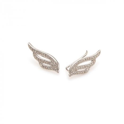 Kolczyki nausznice MONA srebrne ze skrzydłem i cyrkoniami