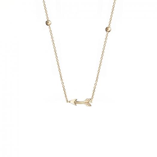 Naszyjnik GOLDIE złoty ze strzała i kuleczkami