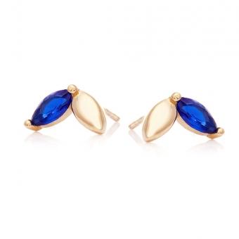 Kolczyki ROYAL złote łezka z niebieską cyrkonią