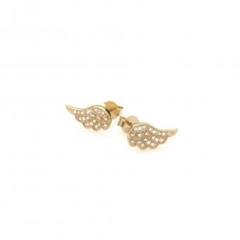 Kolczyki GLAMOUR srebrne pozłacane skrzydła z cyrkoniami