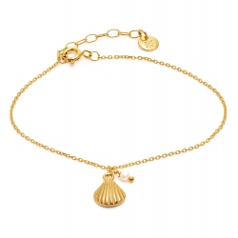 Bransoletka ARIEL srebrna pozłacana z perłą i muszelką