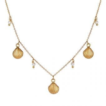 Naszyjnik ARIEL srebrny pozłacany z perłami i muszelkami