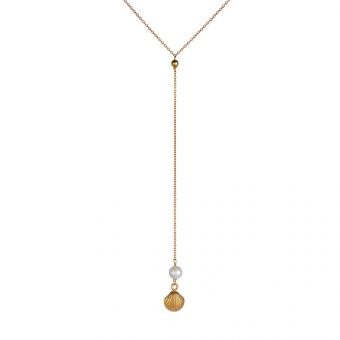 Naszyjnik ARIEL srebrny pozłacany z perłą i muszelką