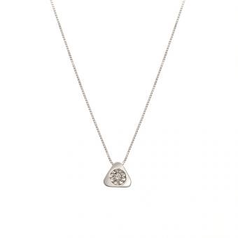 Naszyjnik DIAMONDS białe złoto 585 z brylantem i trójkątem