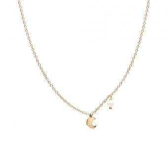 Naszyjnik DOLCE VITA złoty z perłą i księżycem