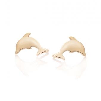 Kolczyki MINI złote delfin