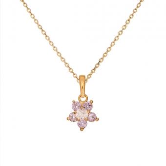 Wisiorek ROYAL złoty z kwiatkiem i cyrkoniami