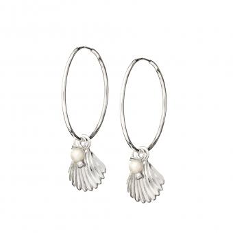 Kolczyki ARIEL srebrne koła 2 cm z perłą i muszelką