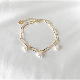 Bransoletka TRENDY srebrna pozłacana z naturalnymi perłami