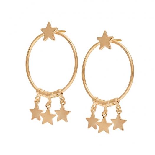 Kolczyki LOCO STAR srebrne pozłacane  koła 2,3 cm z gwiazdkami