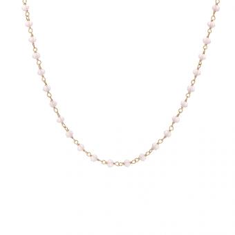 Choker OVAL srebrny pozłacany z różowymi kryształkami