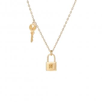 Naszyjnik BELIEVE srebrny pozłacany z kłódką i kluczem
