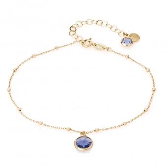 Bransoletka na nogę VENUS srebrna pozłacana z kryształem Swarovskiego