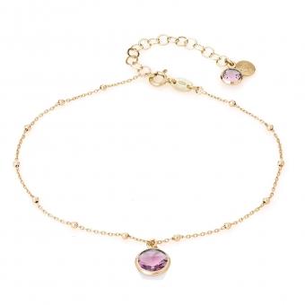 Bransoletka na nogę VENUS srebrna pozłacana z różowym kryształem Swarovskiego