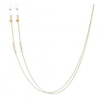 Łańcuszek do okularów srebrny pozłacany z perłami