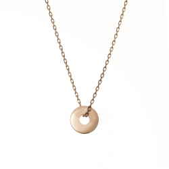 Naszyjnik celebrytka BELIEVE srebrny pozłacany na różowo z kółkiem