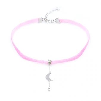 Choker LOCO STAR różowy ze srebrnym księżycem