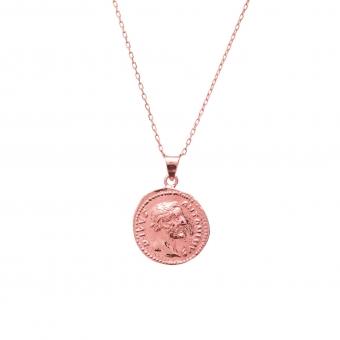Naszyjnik TRENDY srebrny pozłacany na różowo z monetą 1,7 cm