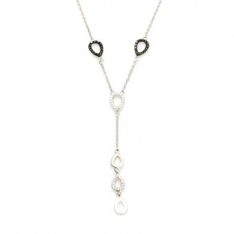 Długi naszyjnik NERO srebrny z czarnymi i białymi cyrkoniami
