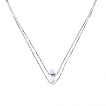 Naszyjnik CLASSY srebrny z perłą i kuleczką