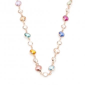 Naszyjnik VENUS srebrny pozłacany na różowo z Kryształami Swarovskiego