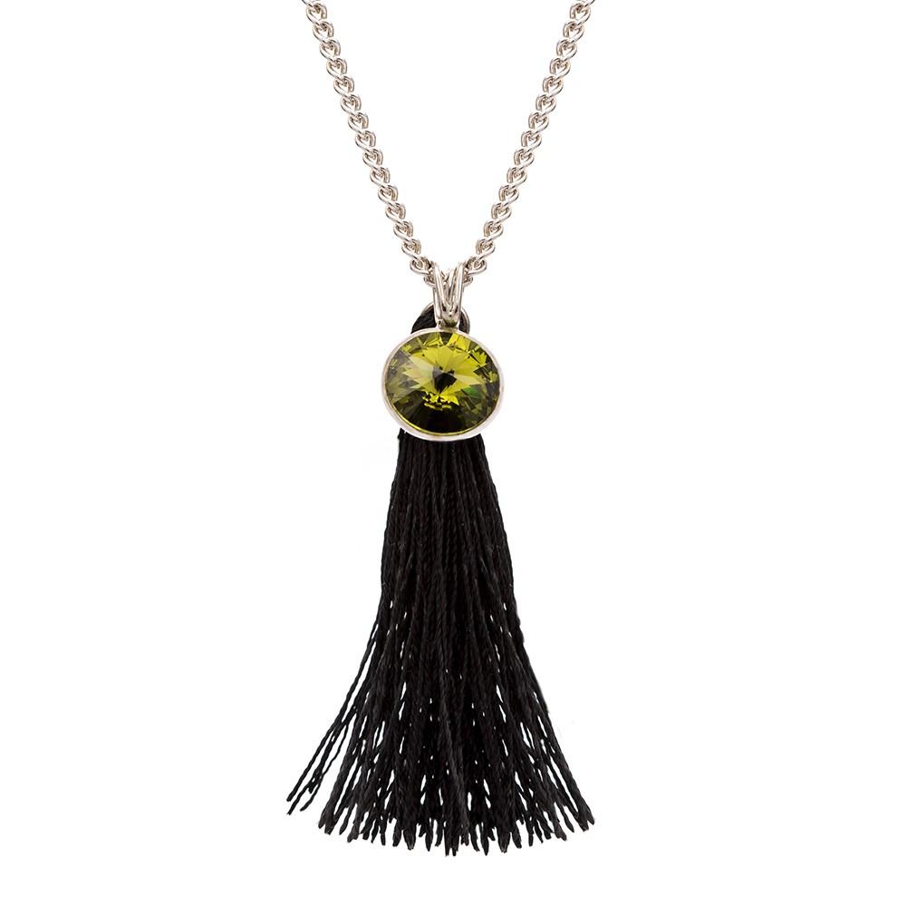 Naszyjnik LARA srebrny z zielonym kryształem