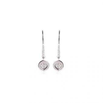 Kolczyki NERO srebrne z białymi cyrkoniami