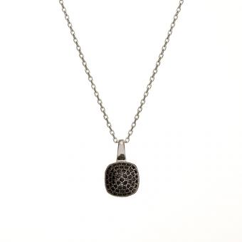 Naszyjnik NERO srebrny z czarnymi i cyrkoniami