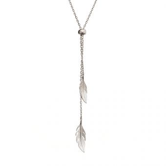 Długi naszyjnik HIPPIE srebrny z piórkami