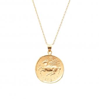 Długi naszyjnik TRENDY srebrny pozłacany z monetą 2,1 cm