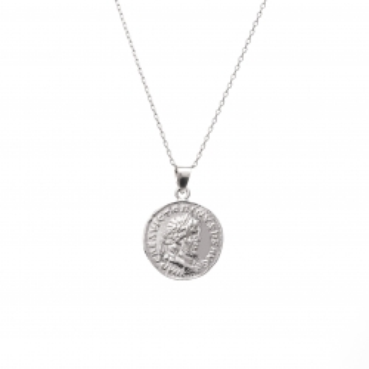 Naszyjnik TRENDY srebrny z monetą 1,7 cm