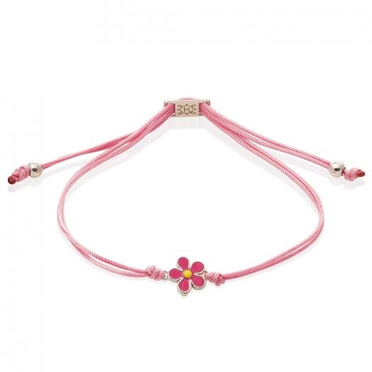 Bransoletka sznurkowa MINI z kwiatkiem