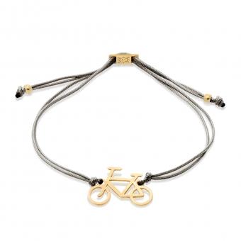 Bransoletka sznurkowa HOBBY srebrna pozłacana z rowerem