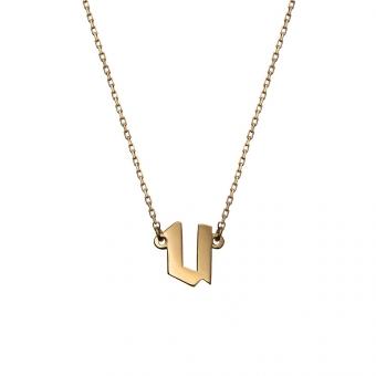 Naszyjnik E. JAK EMOCJE srebrny pozłacany z literą U