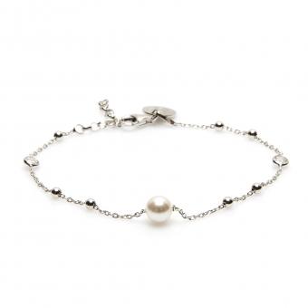 Bransoletka CLASSY srebrna z perłą i kuleczkami