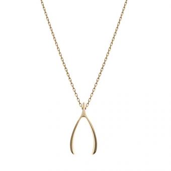 Naszyjnik celebrytka BELIEVE srebrny pozłacany Wishbone