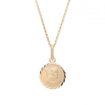 Naszyjnik MINI srebrny pozłacany z medalikiem