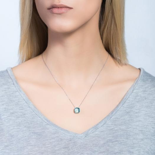 Naszyjnik VENUS srebrny z turkusowym kryształem
