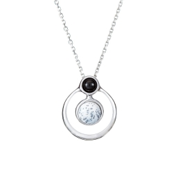 Naszyjnik DUO srebrny z onyksem i agatem dendrytowym