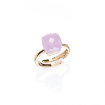 Pierścionek VENUS srebrny pozłacany z różowym kryształem
