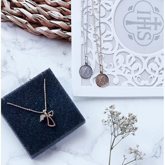 Naszyjnik MINI srebrny pozłacany z aniołkiem i serduszkiem