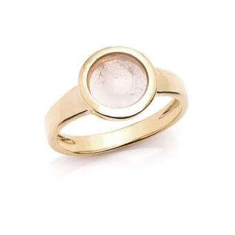 Pierścionek DUO srebrny pozłacany z różowym kwarcem